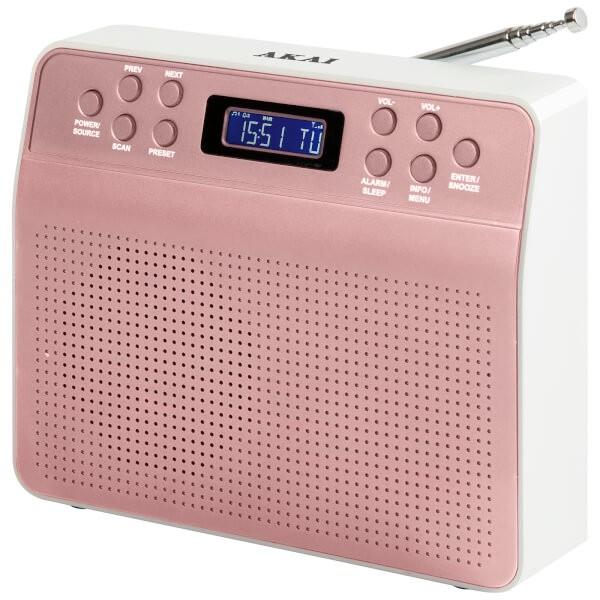 Akai DYNMX Portable DAB+ Radio mit LC- Display und Alarmfunktion - Rose Gold