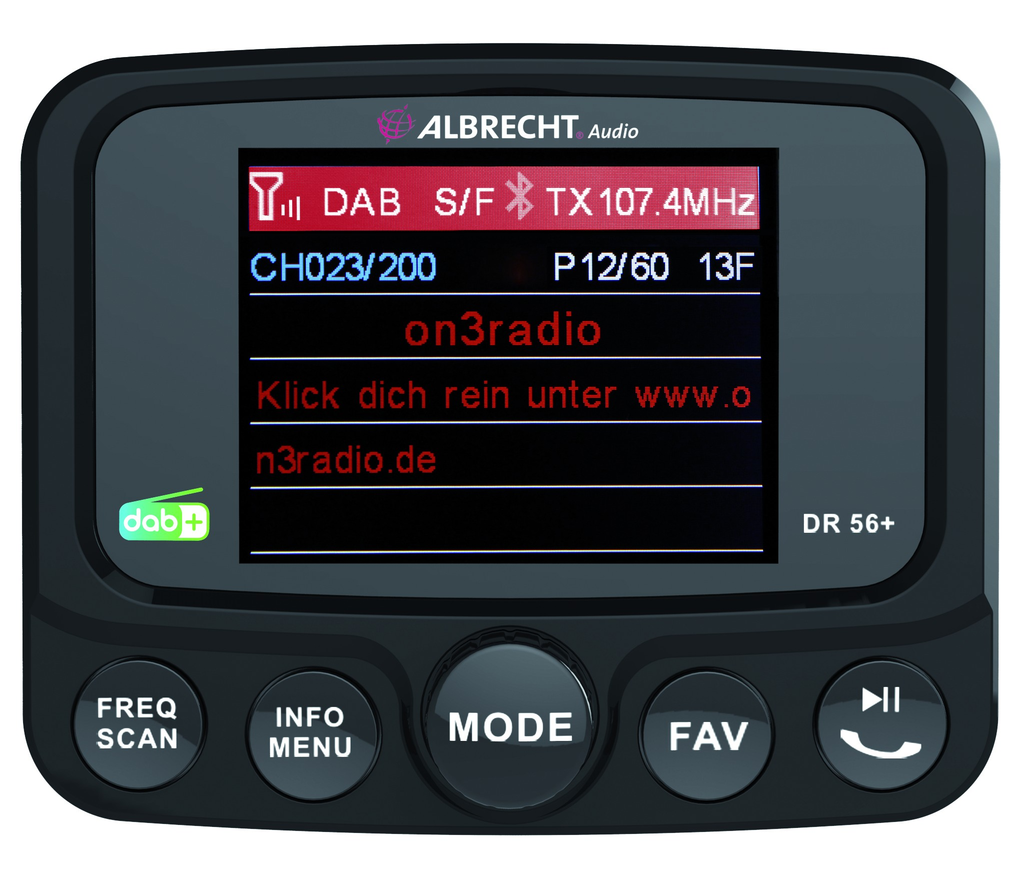 Albrecht DR 56+ DAB+ Autoradio Adapter mit Bluetooth, Freisprecheinrichtung, DAB+, Service Following
