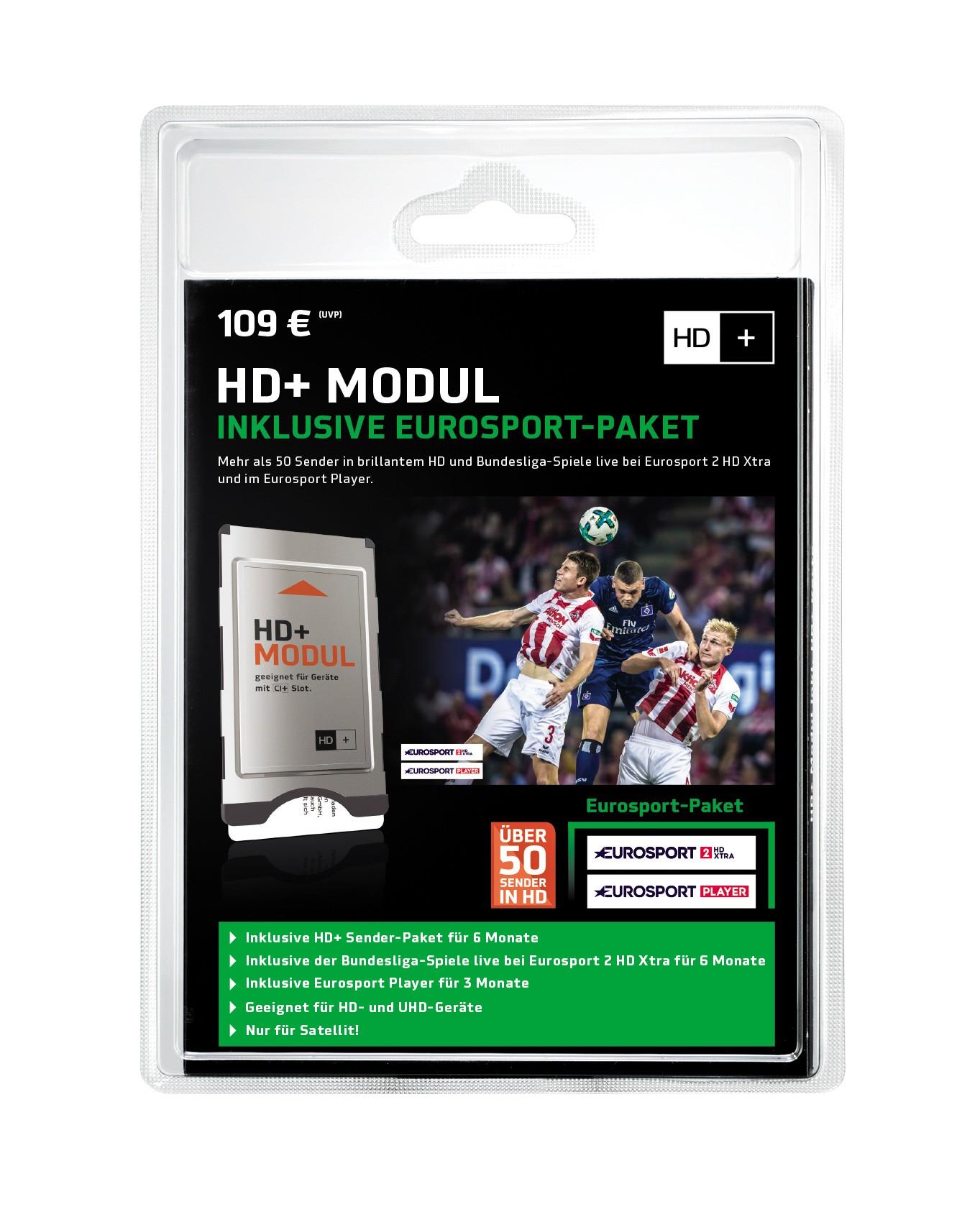 HD+ Modul inkl. HD+ und Eurosport Sender-Paket für 6 Monate (geeignet für Ultra HD)