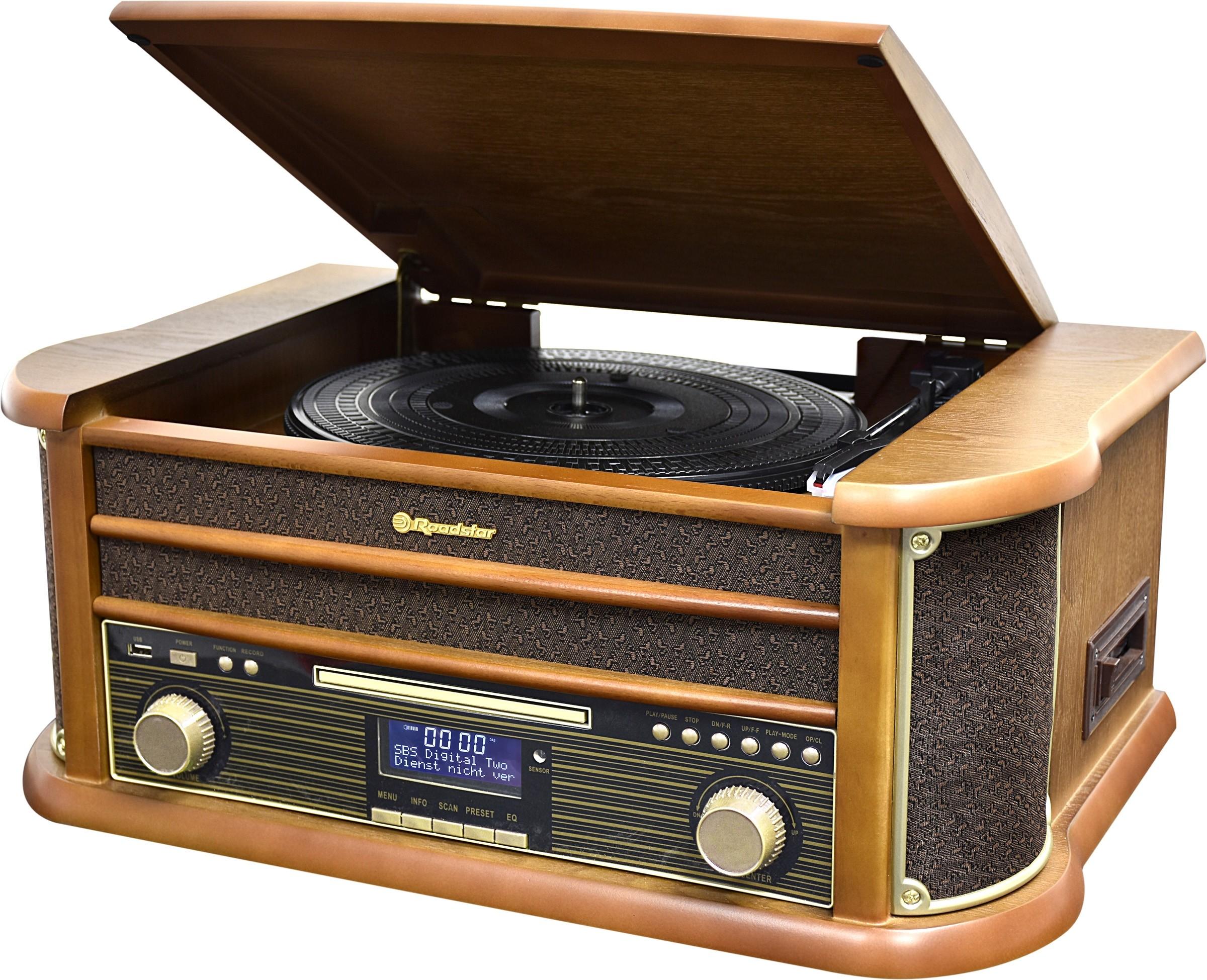 Roadstar HIF-1993D+BT Holz Retro Radio Plattenspieler Bluetooth CD USB MP3 Cassette Vintage